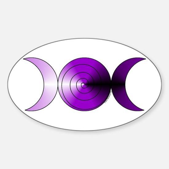 Triple Moon Spiral Oval Sticker - Purple