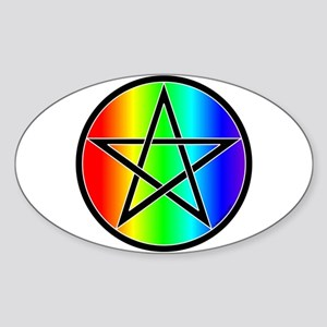 Rainbow Pentacle Oval Sticker - Black