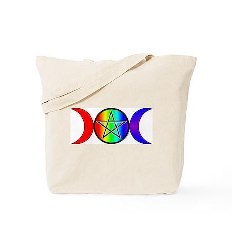 Triple Moon Pentacle Rainbow Tote Bag