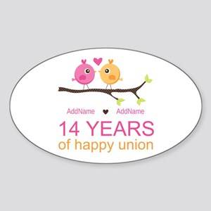 14th Anniversary Personalized Sticker Oval