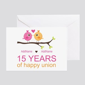 15th Anniversary Personalized Greeting Card