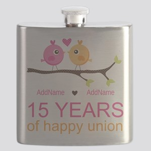 15th Anniversary Personalized Flask