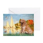 Sailboats (#2) & Golden Greeting Cards (Pk of 10)