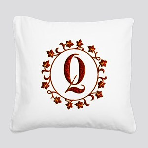 Letter Q Monogram Square Canvas Pillow