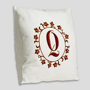 Letter Q Monogram Burlap Throw Pillow