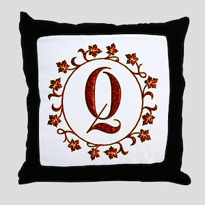 Letter Q Monogram Throw Pillow