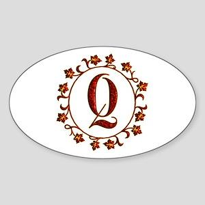 Letter Q Monogram Sticker (Oval)