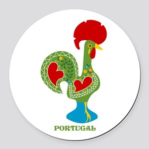 Traditional Portuguese Rooster Round Car Magnet