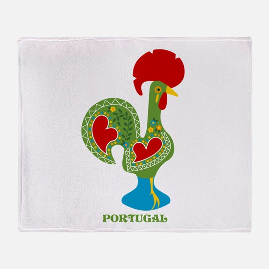 Traditional Portuguese Rooster Throw Blanket