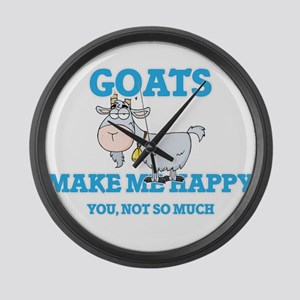 Goats Make Me Happy Large Wall Clock