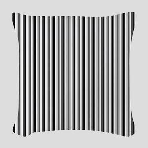 Grey And White Stripes Woven Throw Pillow