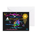 SeaTurtle (night) Greeting Cards (Pk of 20)