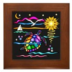 SeaTurtle (night) Framed Tile