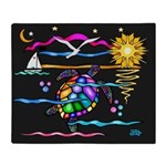 SeaTurtle (night) Throw Blanket