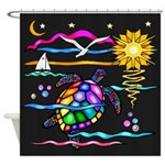 SeaTurtle (night) Shower Curtain