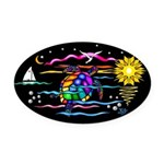SeaTurtle (night) Oval Car Magnet