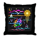 SeaTurtle (night) Throw Pillow
