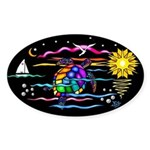SeaTurtle (night) Sticker (Oval)
