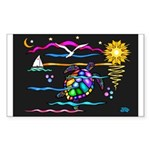 SeaTurtle (night) Sticker (Rectangle 10 pk)