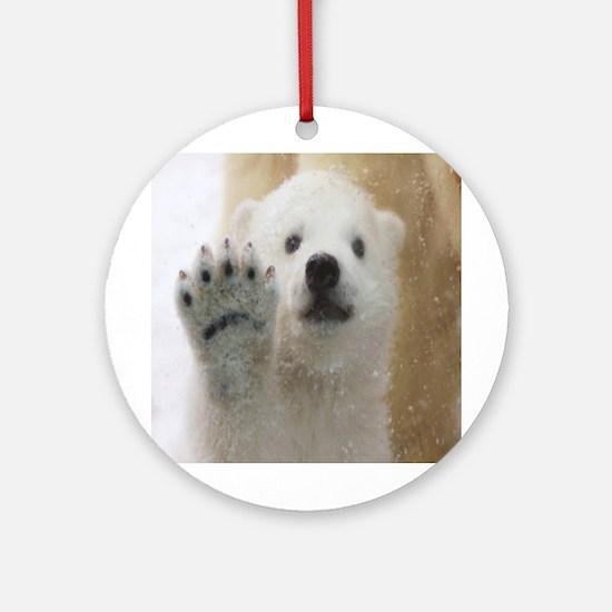 Cute Polar Bear Cub Waving Round Ornament