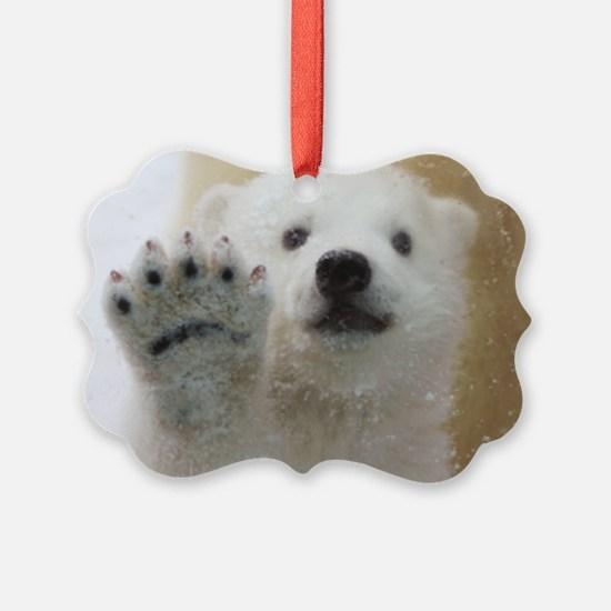 Cute Polar Bear Cub Waving Ornament
