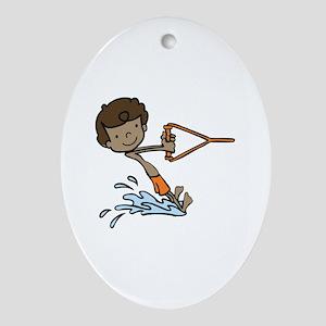 Barefoot Ski Boy Ornament (Oval)
