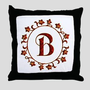 Letter B Monogram Throw Pillow