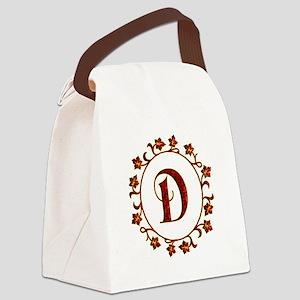 Letter D Monogram Canvas Lunch Bag