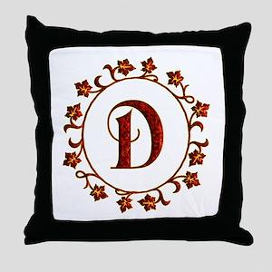 Letter D Monogram Throw Pillow