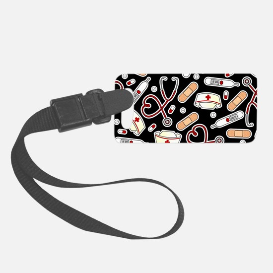 Cute Nurse Love Pattern Black Luggage Tag