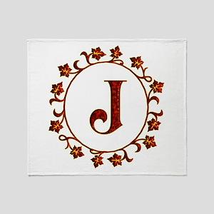 Letter J Monogram Throw Blanket