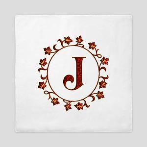 Letter J Monogram Queen Duvet