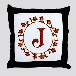 Letter J Monogram Throw Pillow