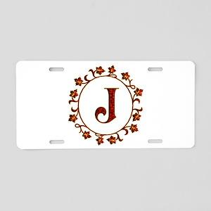 Letter J Monogram Aluminum License Plate