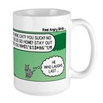 Cat and Angry Birds Large Mug