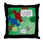 Cat and Angry Birds Throw Pillow