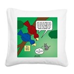 Cat and Angry Birds Square Canvas Pillow