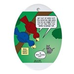 Cat and Angry Birds Ornament (Oval)