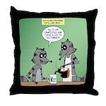 Raccoon Coffee Throw Pillow