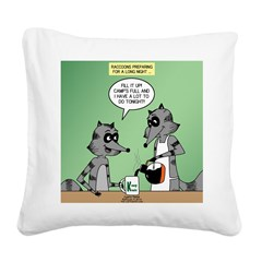 Raccoon Coffee Square Canvas Pillow