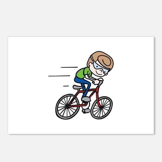 Bicyclist Boy Postcards (Package of 8)