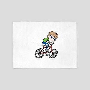 Bicyclist Boy 5'x7'Area Rug
