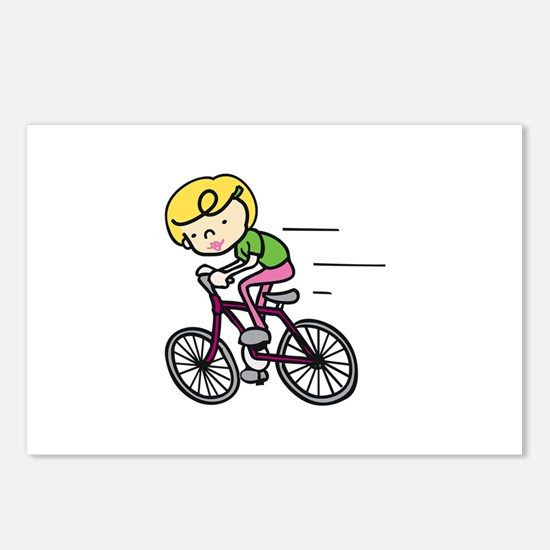 Bicyclist Girl Postcards (Package of 8)