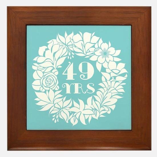 49th Anniversary Wreath Framed Tile