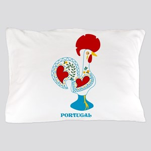 Portuguese Rooster in white Pillow Case