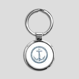 Anchor, Nautical Monogram Round Keychain