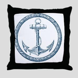 Anchor, Nautical Monogram Throw Pillow