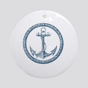 Anchor, Nautical Monogram Round Ornament