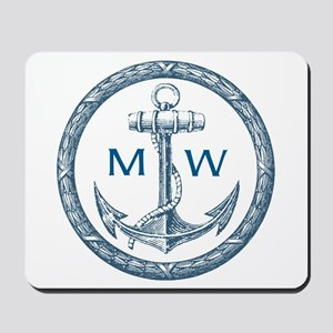 Anchor, Nautical Monogram Mousepad