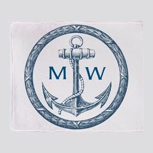 Anchor, Nautical Monogram Throw Blanket